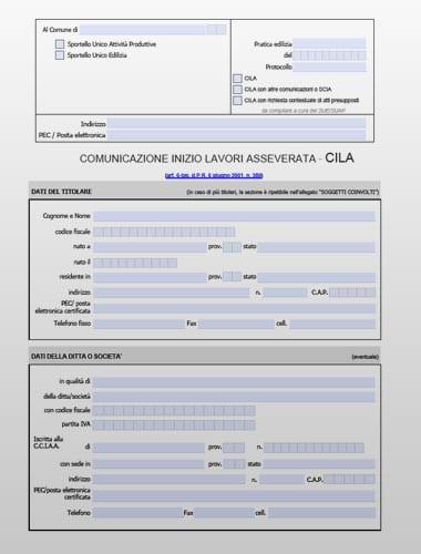 Modello cila pdf editabile for Comunicazione inizio lavori ristrutturazione bagno