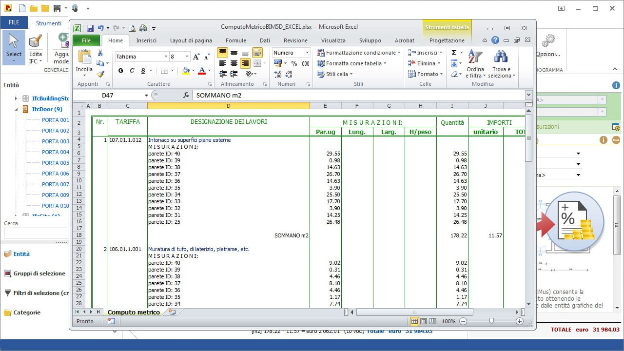 Software ifc bim 5d di computo metrico primus ifc acca for Computo metrico estimativo excel