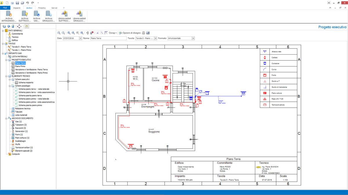 software progettazione reti gas impiantus gas acca