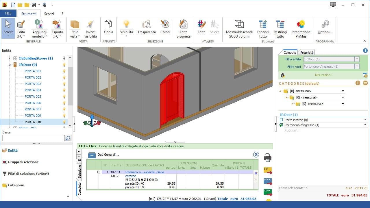 Software IFC BIM 5D di Computo Metrico - PriMus-IFC - ACCA