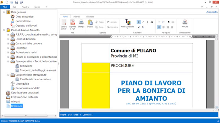 Software Piano di Lavoro Amianto - CerTus-AMIANTO - ACCA software