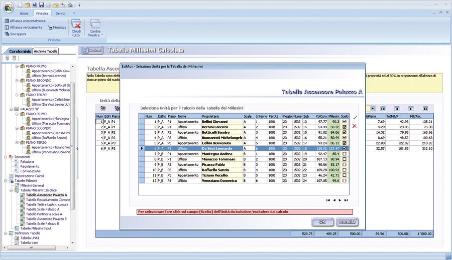 software calcolo tabella millesimali