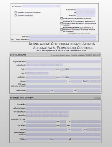 Modello SCIA alternativa al permesso di costruire- PDF editabile