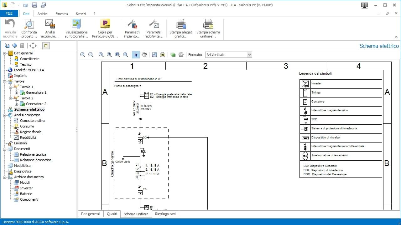 Schema Elettrico Unifilare Impianto Fotovoltaico : Software fotovoltaico solarius pv acca